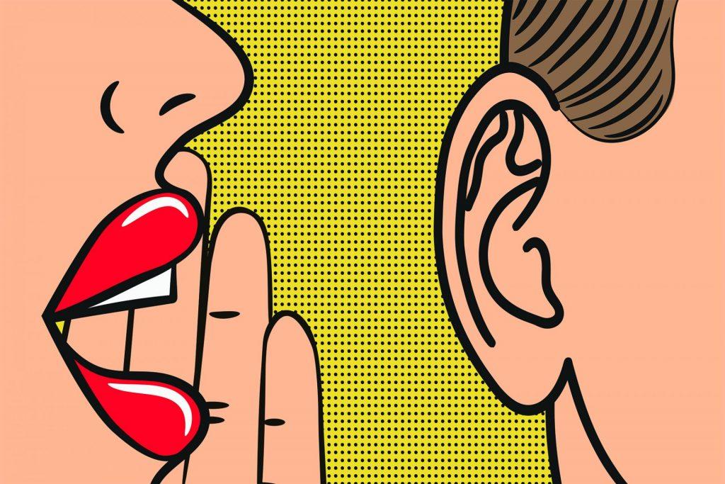 pop art woman whispering into a man's ear