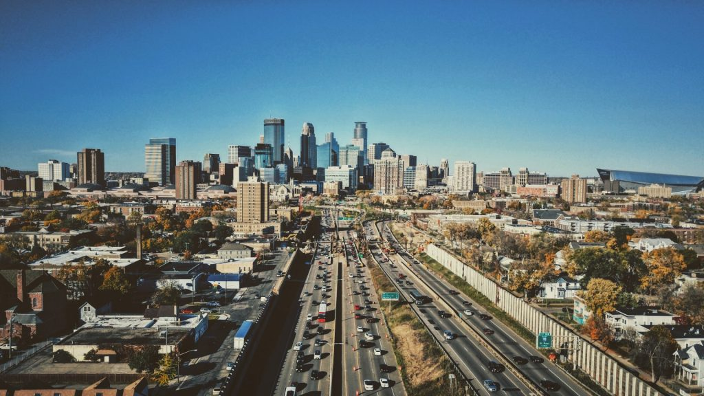aerial photo of Minneapolis